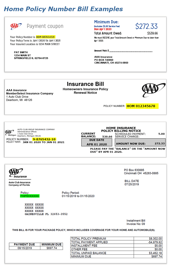 Insurance: Auto Insurance Policy Number