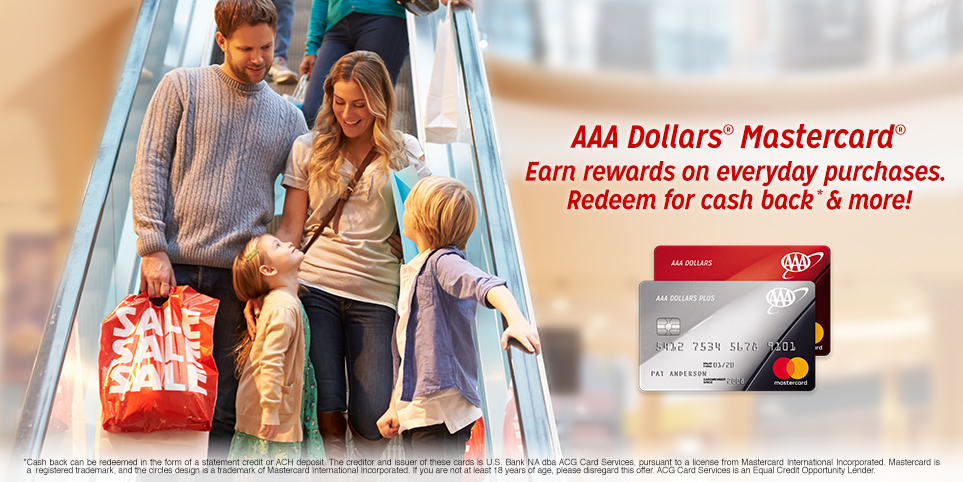 Earn rewards with AAA Dollars Mastercard